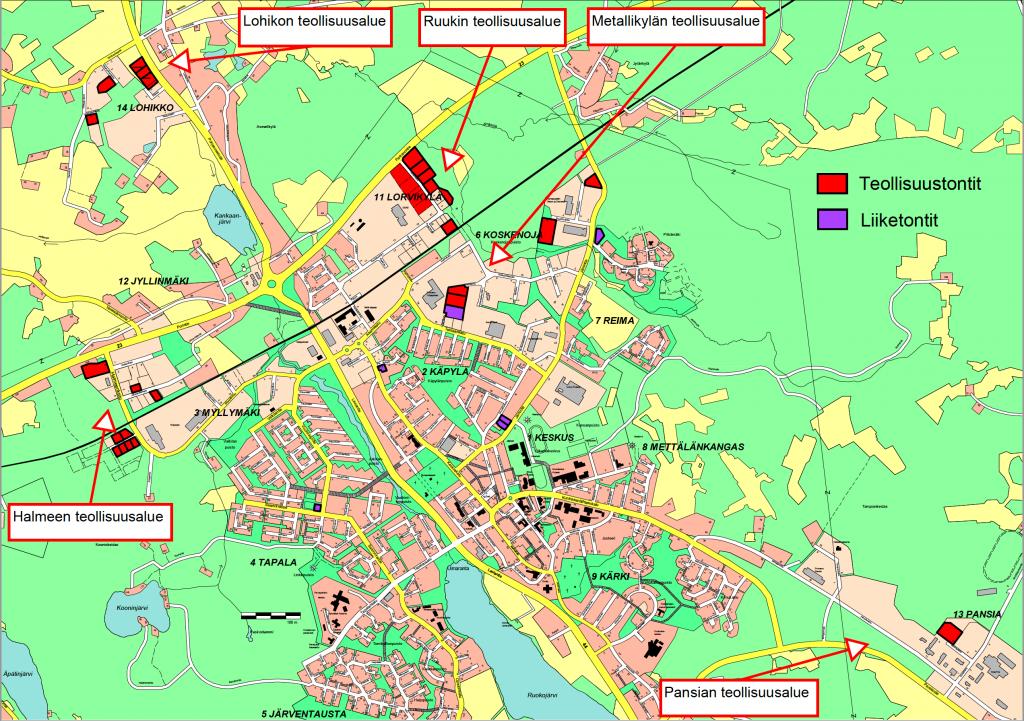 Teollisuus- ja liiketontit karttakuva 2021